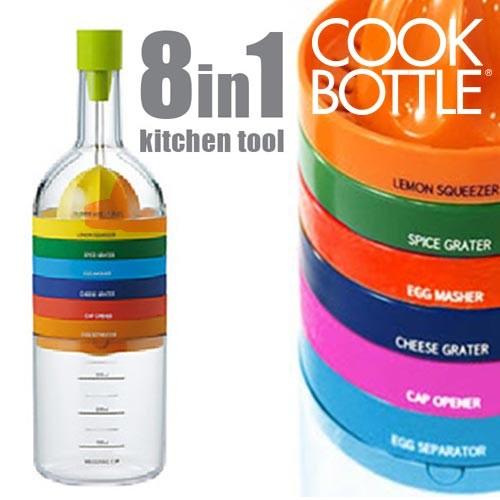 Garrafa com 8 utensílios de cozinha
